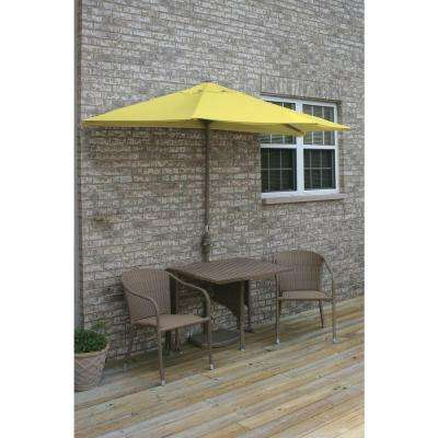 Terrace Mates Daniella 5-Piece Coffee Patio Bistro Set with 9 ft. Yellow Olefin Half-Umbrella