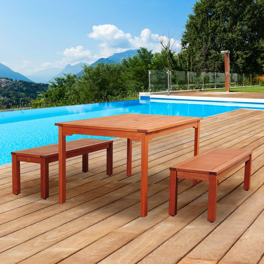 Cooper 3-Piece Eucalyptus Rectangular Patio Dining Set