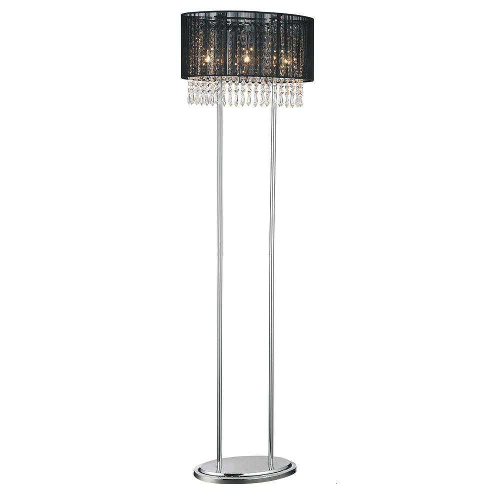 Cwi lighting sheer 59 in chrome floor lamp with black shade cwi lighting sheer 59 in chrome floor lamp with black shade aloadofball Choice Image