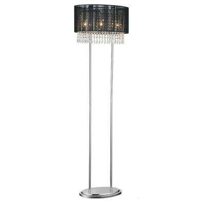 Sheer 59 in. Chrome Floor Lamp with Black Shade