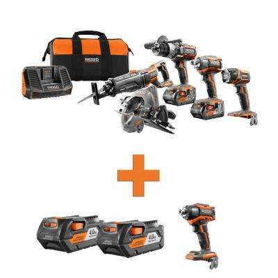 18-Volt Lithium-Ion Cordless 5-Tool Combo w/Bonus (2) 4.0Ah Battery Packs & OCTANE Brushless 6-Mode Impact Driver