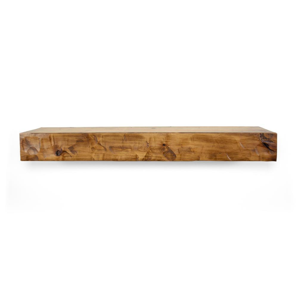 Aged oak mantel