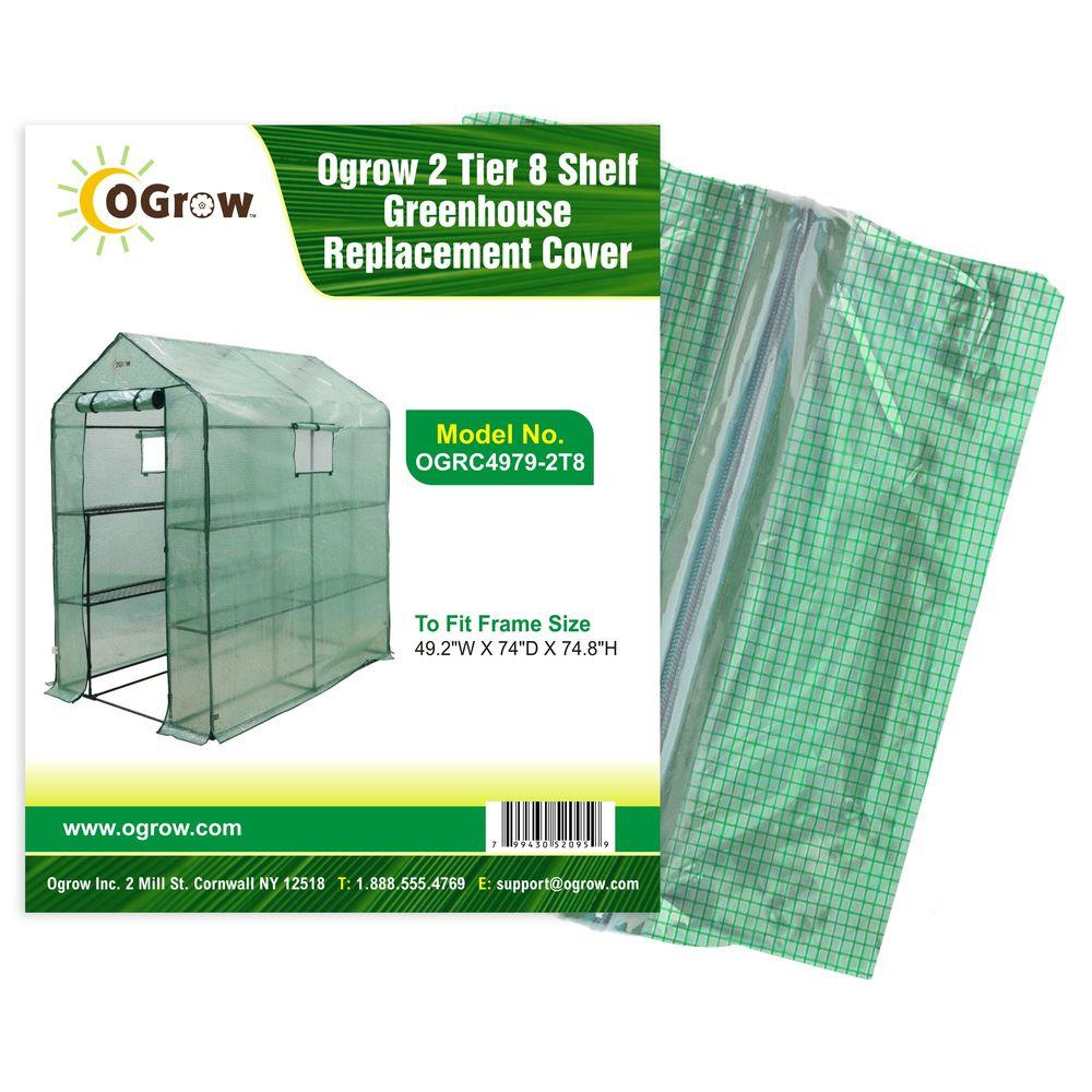 Ogrow 49.2 in. W x 74 in. D x 74.8 in. H 2-Tier 8 Shelf Greenhouse PE Replacement Cover