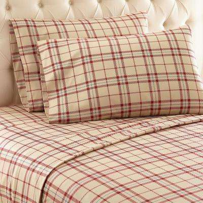 4-Piece Carlton Plaid Tan California King Polyester Sheet Set