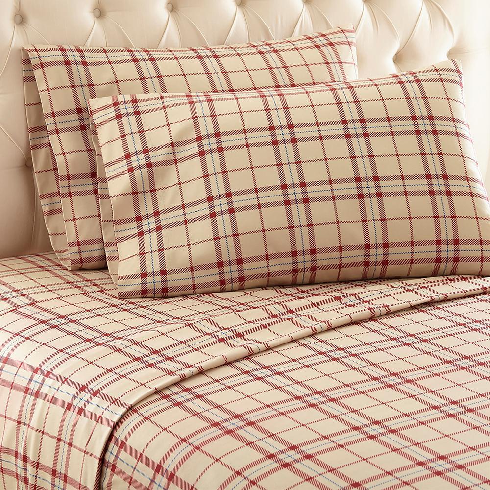 4-Piece Carlton Plaid Tan King Polyester Sheet Set