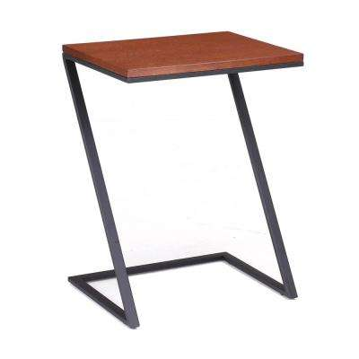 Foster Black Steel with Wood Veneer Top Z Table