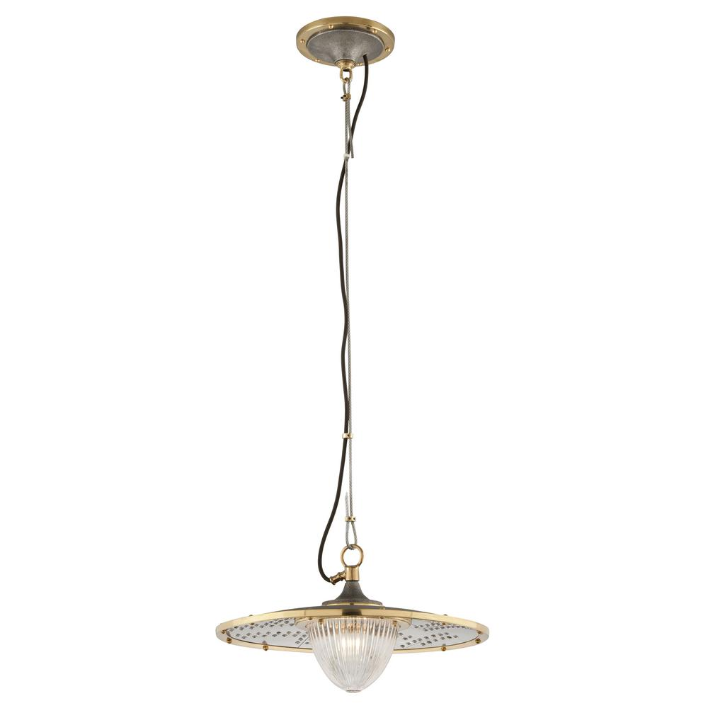 Troy Lighting Fly Boy 1-Light Antique Silver with Vintage Aluminum and Aged Brass Pendant