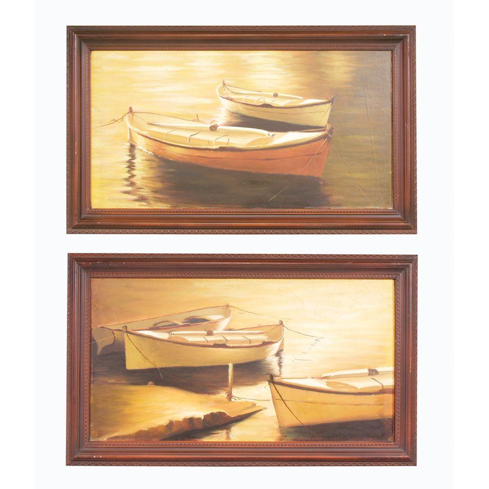 "Antique Reproductions 16 in. x 27.5 in. ""Row Boat Prints"" Framed Wall Art"