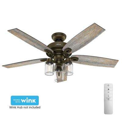 Crown Canyon 52 in. Indoor Regal Bronze Smart Ceiling Fan with Light Kit and WINK Remote Control