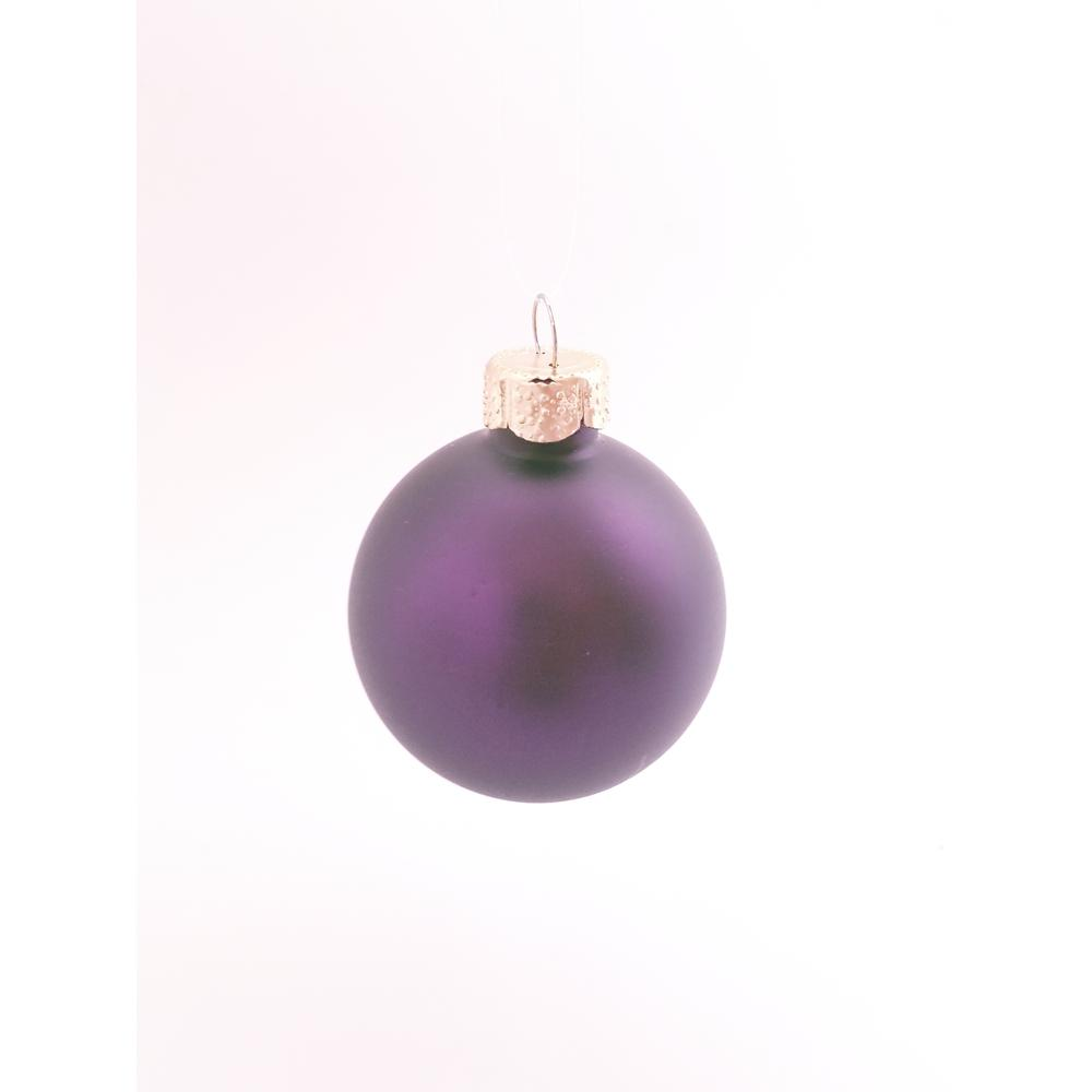 purple matte glass christmas ornaments 6 pack - Purple And Silver Christmas Decorations