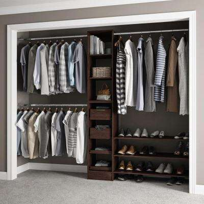 15 in. D x 105 in. W x 84 in. H Melamine Reach-In Closet System Kit in Mocha