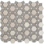 Marble Cream Honed 11.57 in. x 12.05 in. x 10 mm Limestone Mesh-Mounted Mosaic Tile (0.97 sq. ft.)