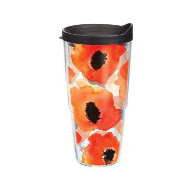 Watercolor Poppy Tumbler with Lid