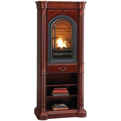 35 in. Ventless Natural Gas Tower Fireplace in Cherry