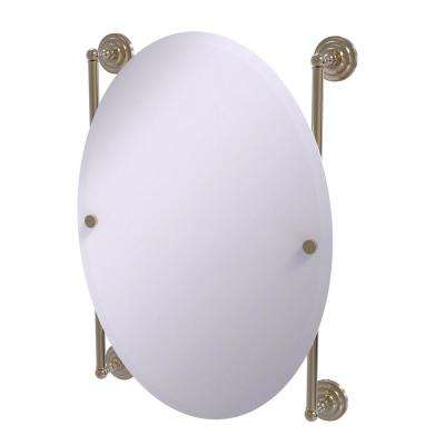 Que New Collection Oval Frameless Rail Mounted Mirror in Antique Pewter