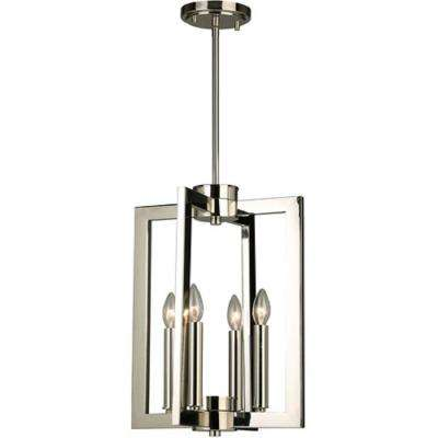 Jordon 4x60-Watt 4-Light 13 in. Pendant with Polished Nickel