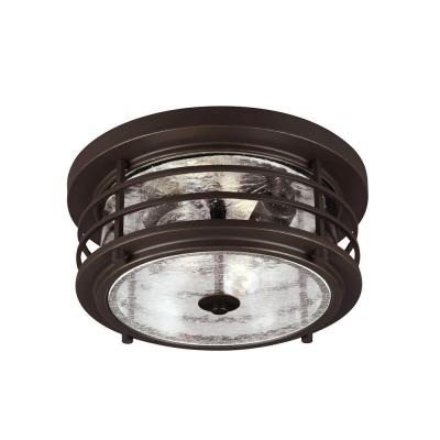 Sauganash 2-Light Outdoor Antique Bronze Ceiling Flushmount with Clear Seeded Glass