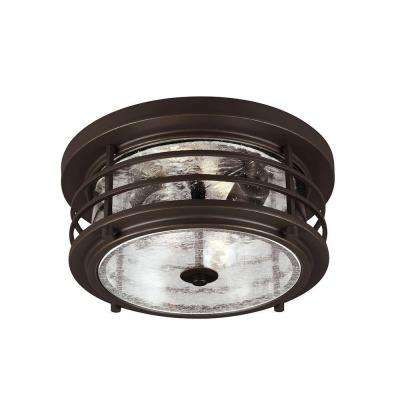 Sauganash 2 light outdoor antique bronze ceiling flushmount with clear seeded glass