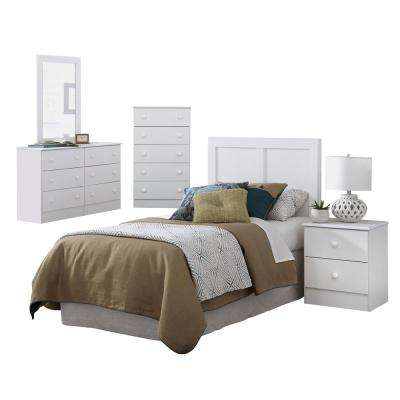 Five Piece White Bedroom including Twin Headboard, Five Drawer Chest, Dresser, Mirror, and Night Stand.