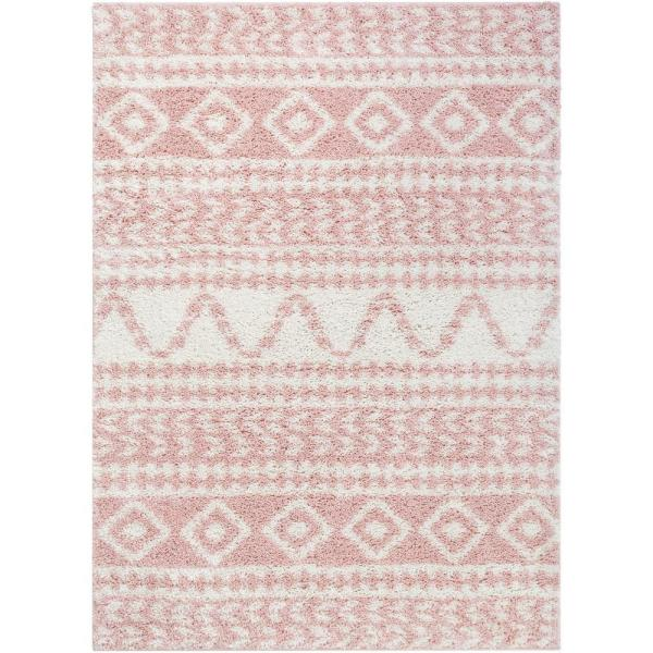 Madison Shag Cossima Moroccan Geometric Pink 5 ft. 3 in. x 7 ft. 3 in. Area Rug