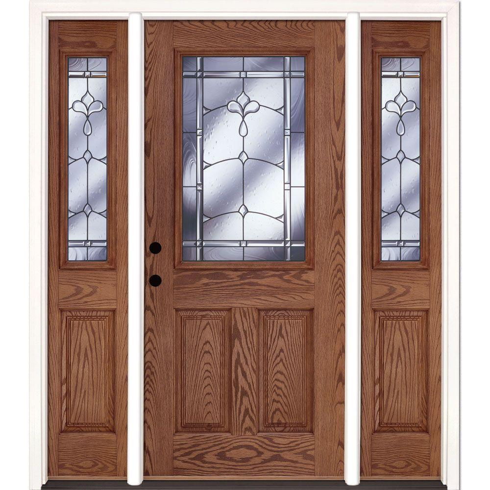 Feather River Doors 63.5 in. x 81.625 in. Carmel Patina 1/2 Lite Stained Medium Oak Right-Hand Fiberglass Prehung Front Door with Sidelites