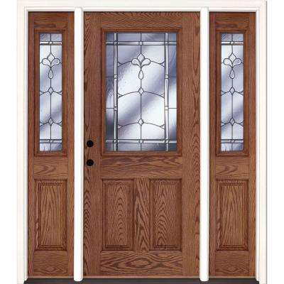 63.5 in. x 81.625 in. Carmel Patina 1/2 Lite Stained Medium Oak Right-Hand Fiberglass Prehung Front Door with Sidelites