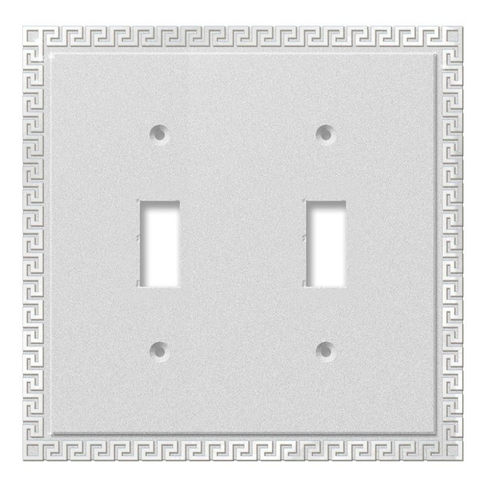 Greek Key 2 Toggle Wall Plate - Chrome