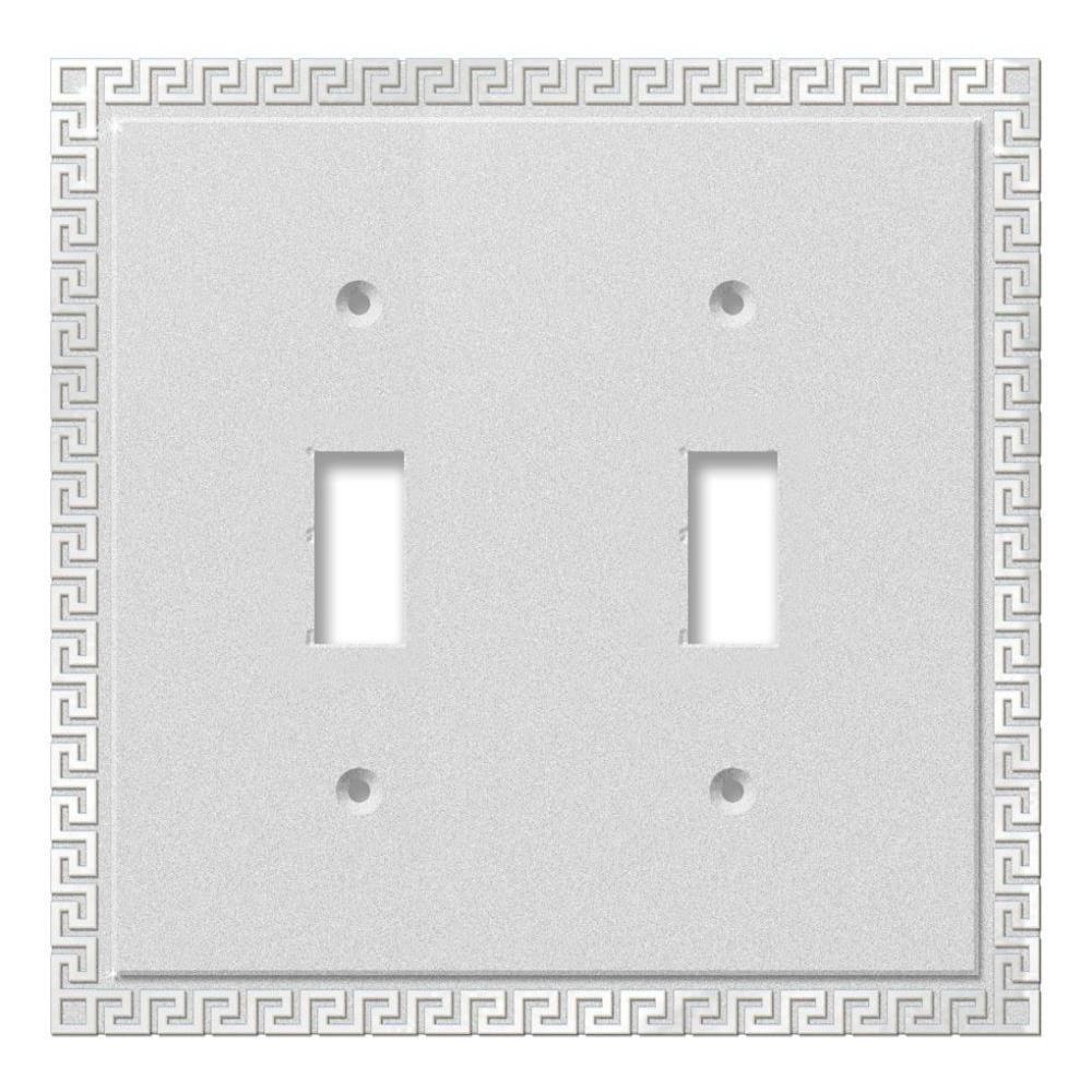 Greek Key 2 Toggle Wall Plate - Chrome