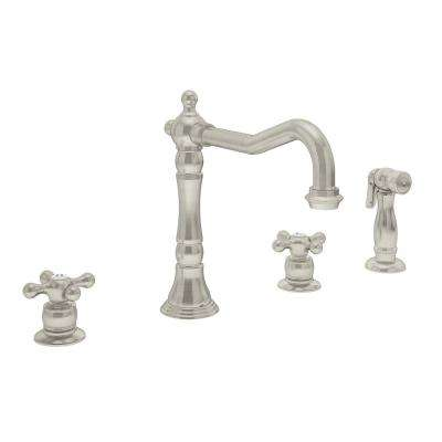 Carrington 2-Handle Standard Kitchen Faucet with Side Sprayer in Satin Nickel