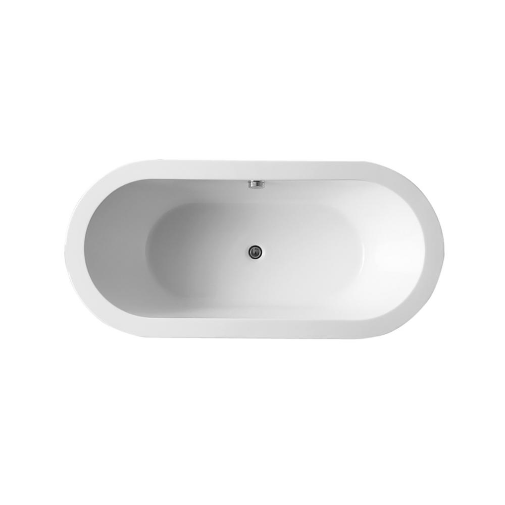 Ares 5.5 ft. Classic Flatbottom Non-Whirlpool Bathtub in White