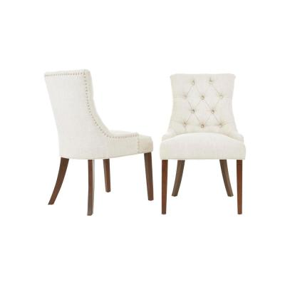 Bakerford Walnut Finish Upholstered Dining Chair with Biscuit Beige Seat (Set of 2) (21.85 in. W x 36.22 in. H)