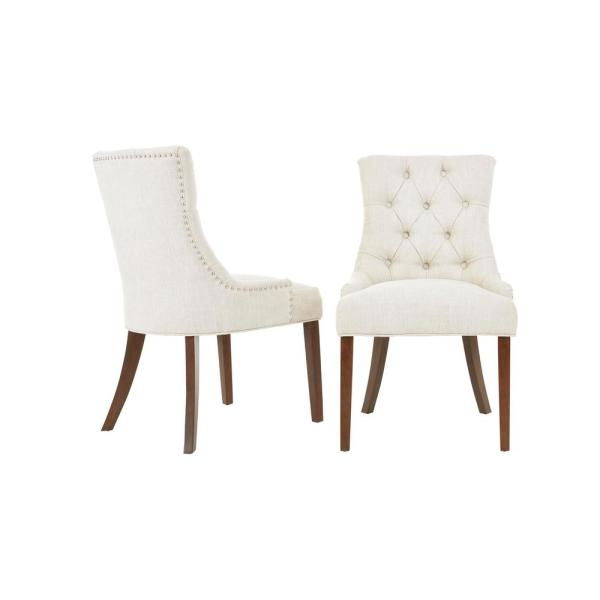 Bakerford Walnut Finish Upholstered Dining Chair With Biscuit Beige Seat (Set Of 2) (21.85 In. W X 36.22 In. H) by Style Well