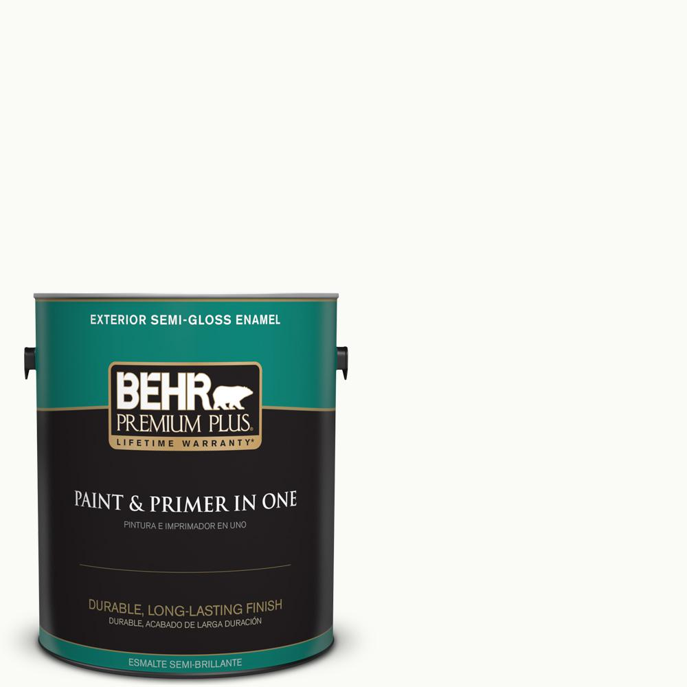 BEHR Premium Plus Ultra 1 gal. Ultra Pure White Flat Exterior Paint ...
