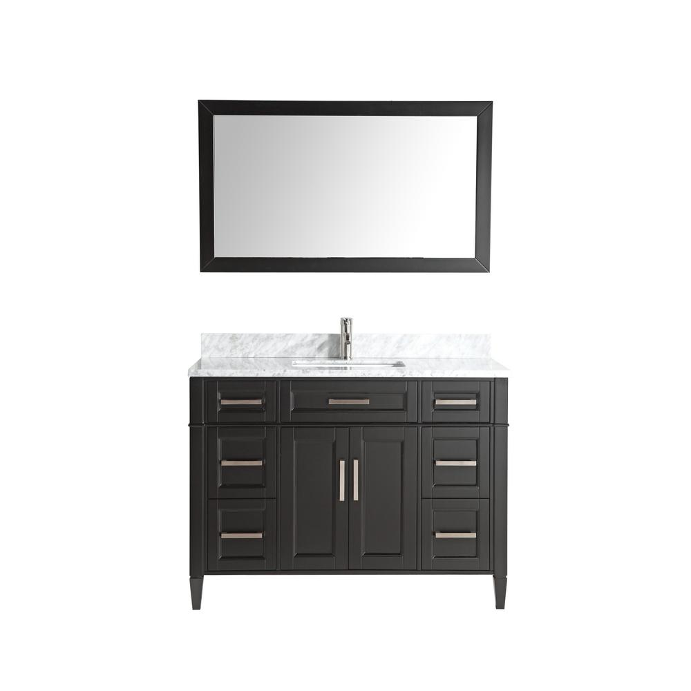 Vanity Art 48 in. W x 22 in. D x 36 in. H Vanity in Espresso with Single Basin Vanity Top in White and Grey Marble and Mirror