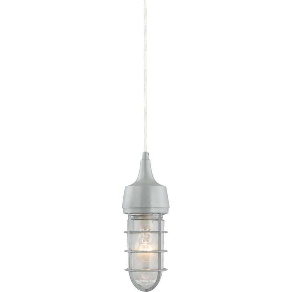 1-Light Indoor or Outdoor Silver Gray Aluminum Mini Hanging Pendant with Clear Glass Rounded Cylindrical Shade
