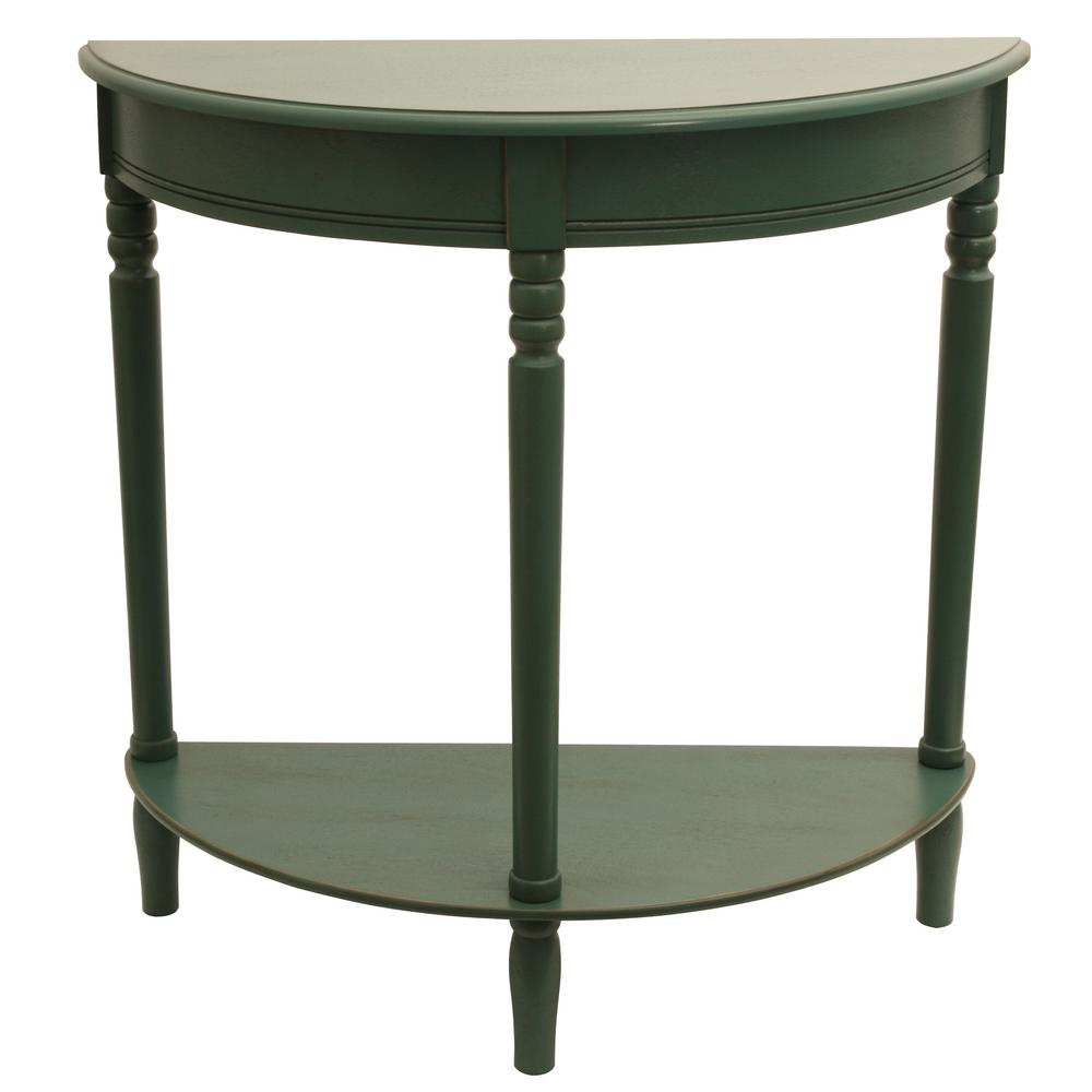 Simplicity Antique Teal Half Round Console Table