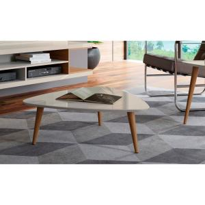 Bon +2. Manhattan Comfort Utopia 11.81 In. H Off White And Maple Cream Triangle Coffee  Table