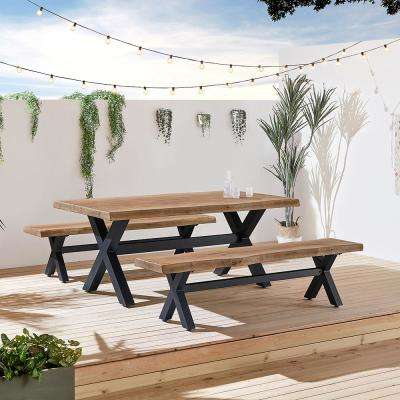 Bali 3-Piece Stone Rectangle Outdoor Dining Set