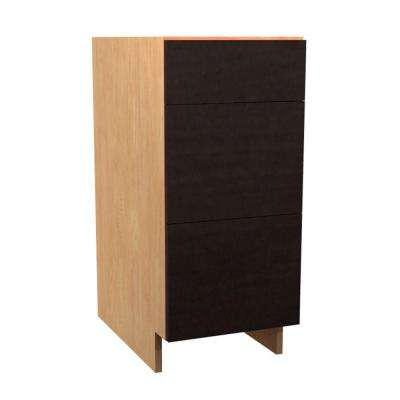 Elice Ready to Assemble 18 x 34.5 x 24 in. Base Drawer Cabinet with 3 Soft Close Drawer in Mocha