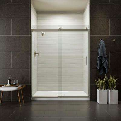 levity 59 in x 74 in semi frameless sliding shower door in nickel with handle