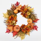 22 in. Unlit Artificial Harvest Wreath with Pumpkins and Hydrangeas on a Twig Base