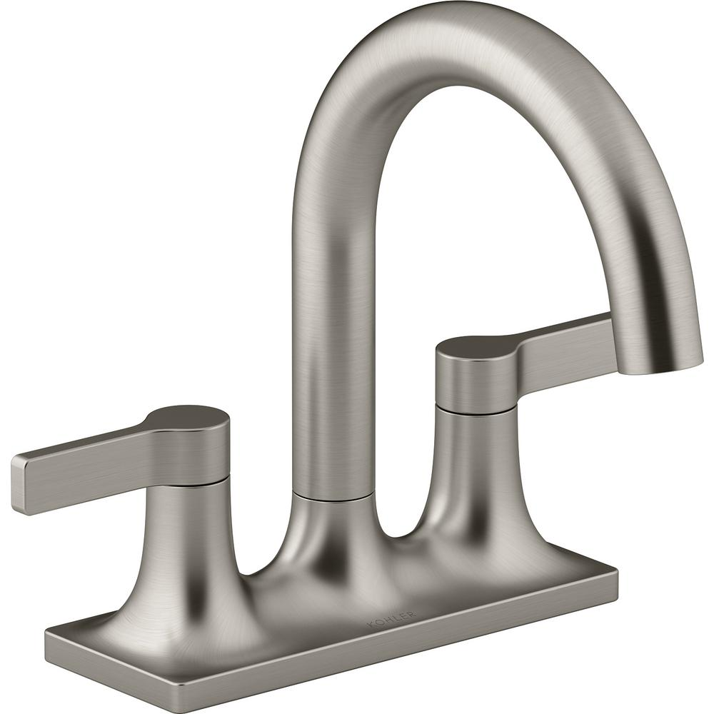 KOHLER Venza 4 in. Centerset 2-Handle Bathroom Faucet in Vibrant Brushed Nickel