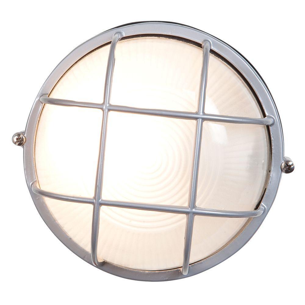 Nauticus 1-Light Satin Outdoor Bulkhead Light with FrostedGlass Shade