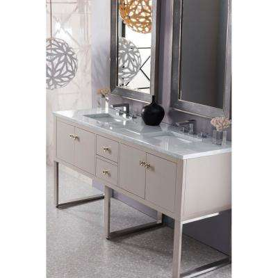 Westlake 72 in. Single Bath Vanity in Mountain Mist with Marble Vanity Top in Carrara White with White Basin