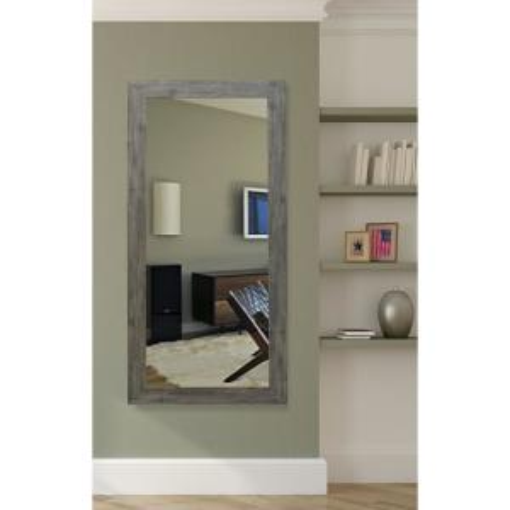 65.5 in. x 30.5 in. Gray Barnwood Beveled Vanity Wall Mirror