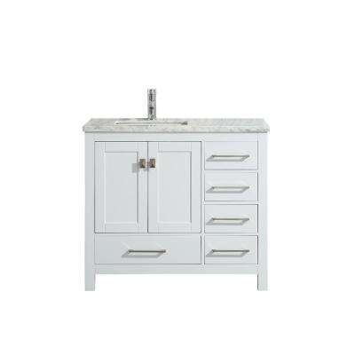 London 36 in. W x 18 in. D x 34 in. H Vanity in White with Carrera Marble Top in White with White Basin