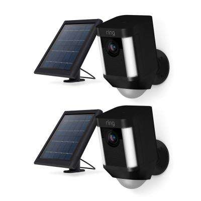 Spotlight Cam Solar Wireless Outdoor Rectangle Security Camera, Black (2-Pack)