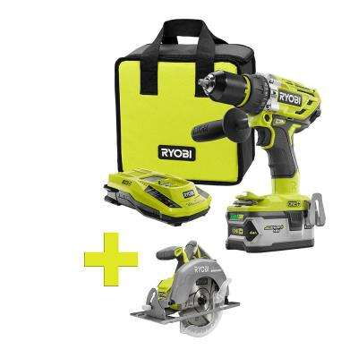 18-Volt ONE+ Lithium-Ion Cordless Brushless Hammer Drill/Driver, 4Ah Batt and Charger w/Bonus Brushless Circ Saw