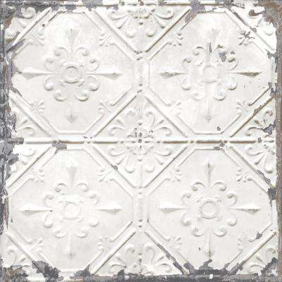 White and Off-White Vintage Tin Tile Peel and Stick Wallpaper