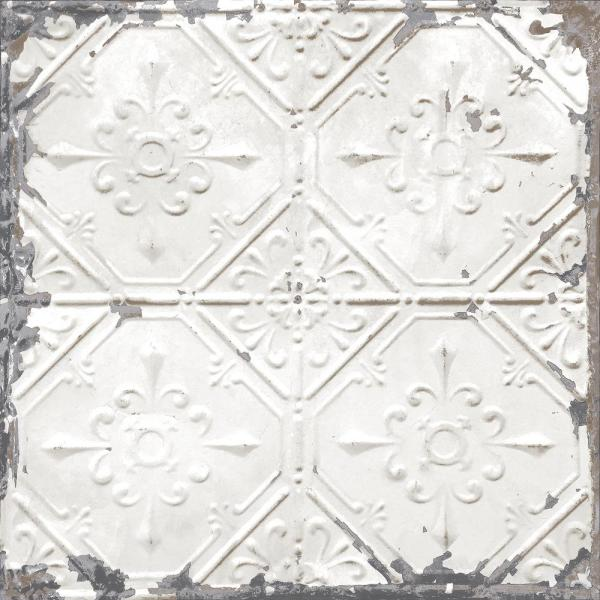 NuWallpaper White and Off-White Vintage Tin Tile Peel and Stick Wallpaper
